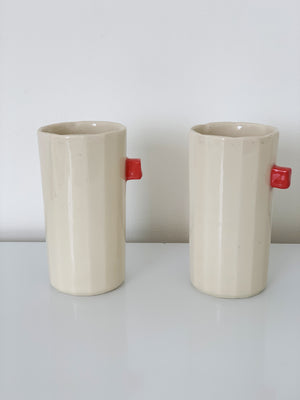 Ceramic Highball Cup - Red or Blue Detail