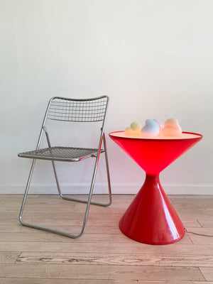 1970s Red Plastic West German Hourglass Illuminating Table
