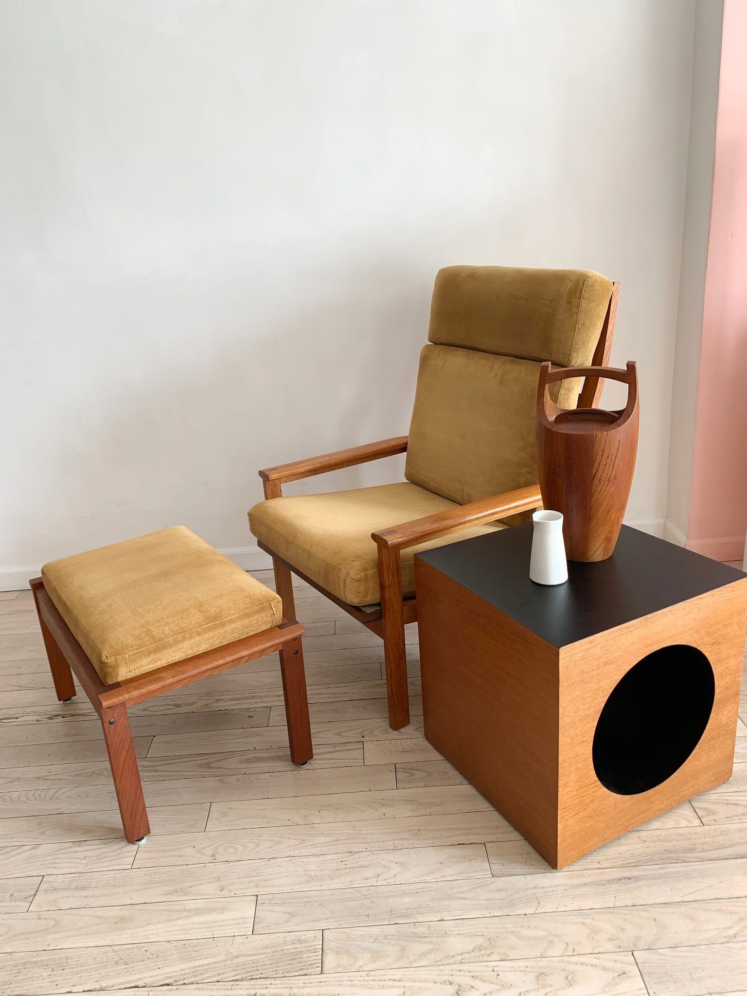 1960s Danish Teak Arm Chair + Ottoman By Illum Wikkelso
