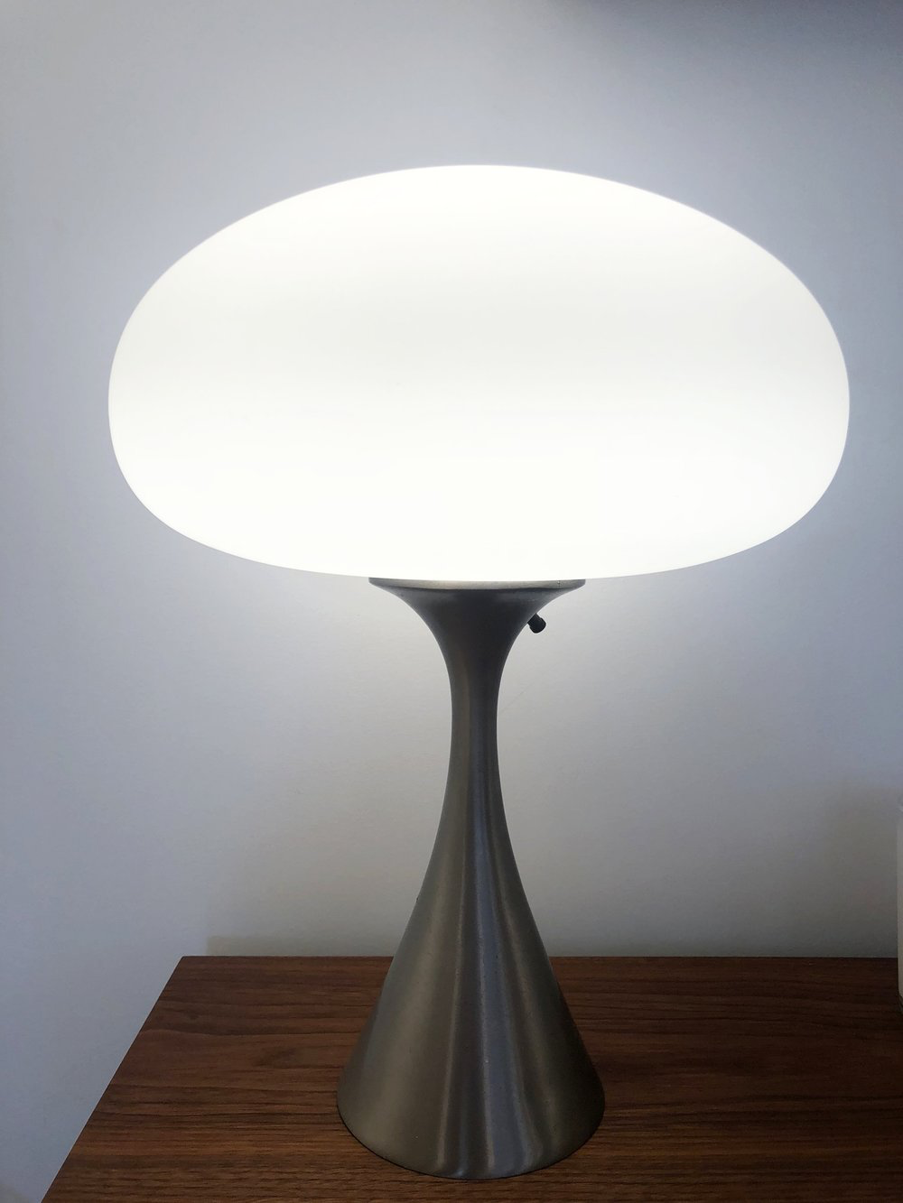Mid Century Mushroom Table Laurel Lamp in Nickel Designed by Bill Curry