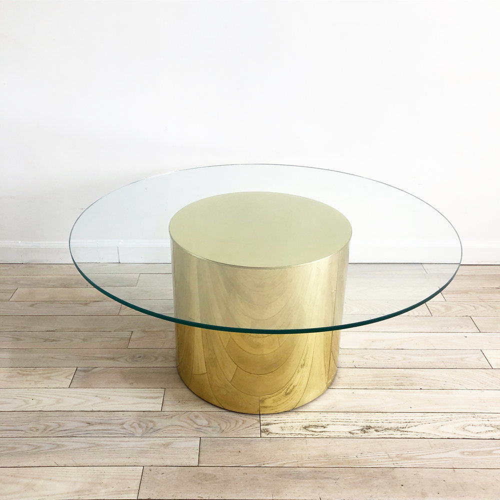 1981 Brass Curtis Jere Drum Coffee Table
