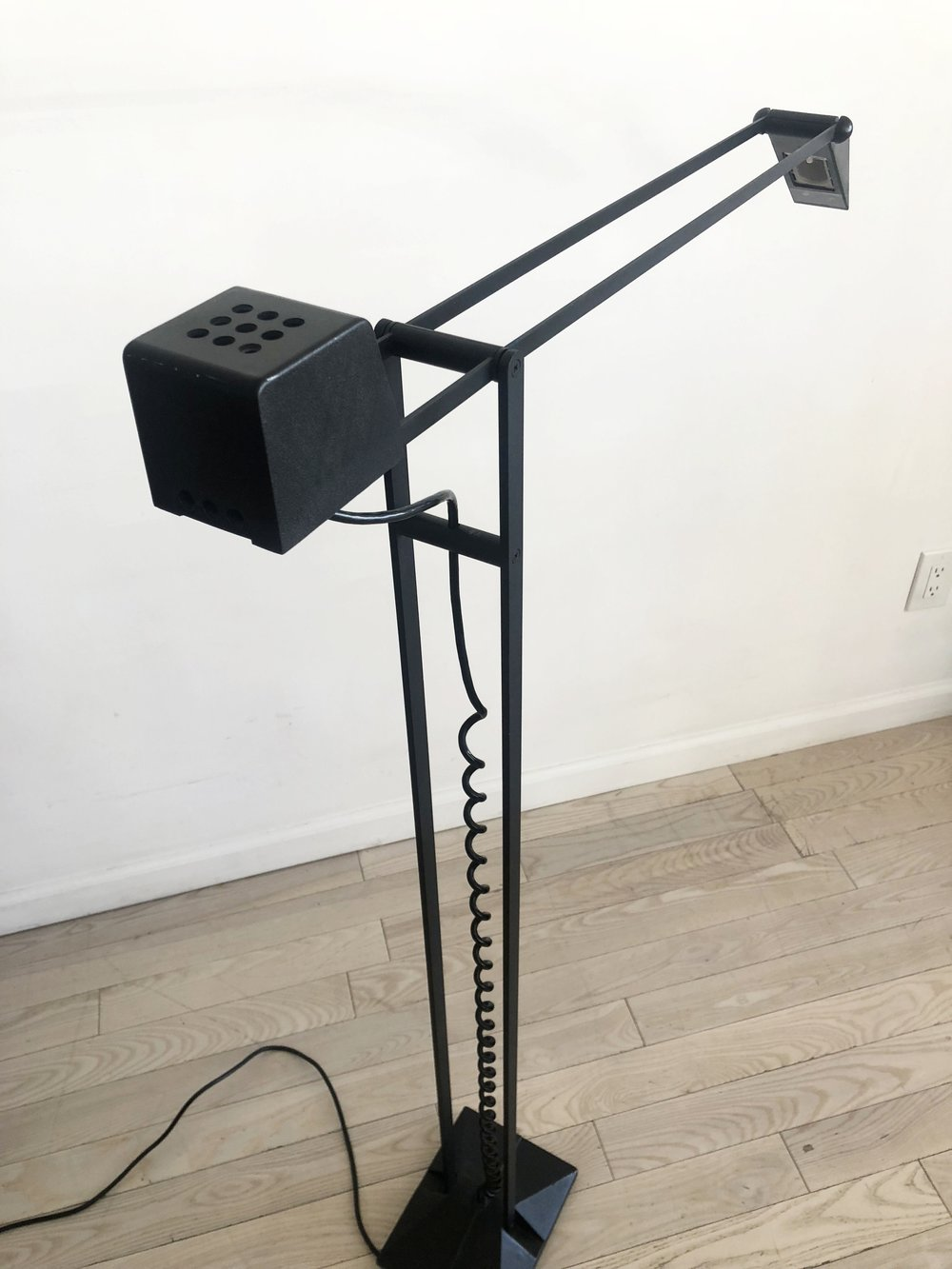 Black Cast Iron and Steel Floor Lamp with Curly Cord by Artup