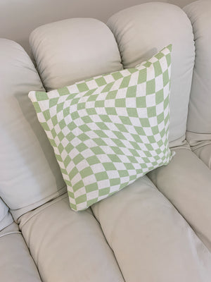 Linen Screen Printed Sage Green Twisted Checkerboard Pillows