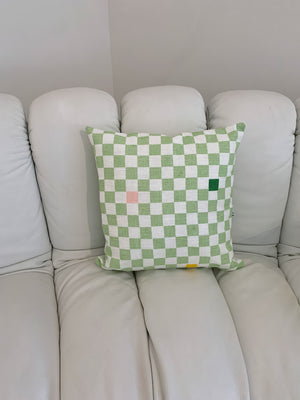 Sage Green And White Checkerboard Pillow