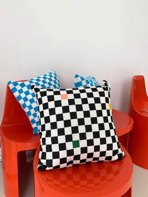 Black And White Checkerboard Pillow