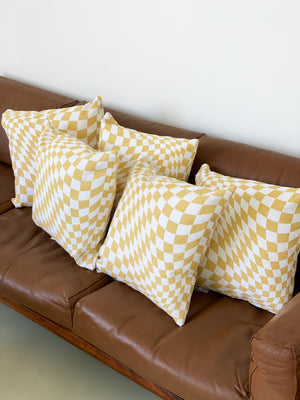 Linen Screen Printed Beige Twisted Checkerboard Pillows