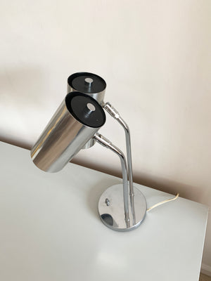 Two-Headed Directional Chrome Table Lamp by Robert Sonneman For Koch+Lowy