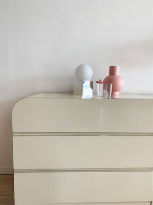 1980s Cream Laminate 2-Piece Waterfall Credenza