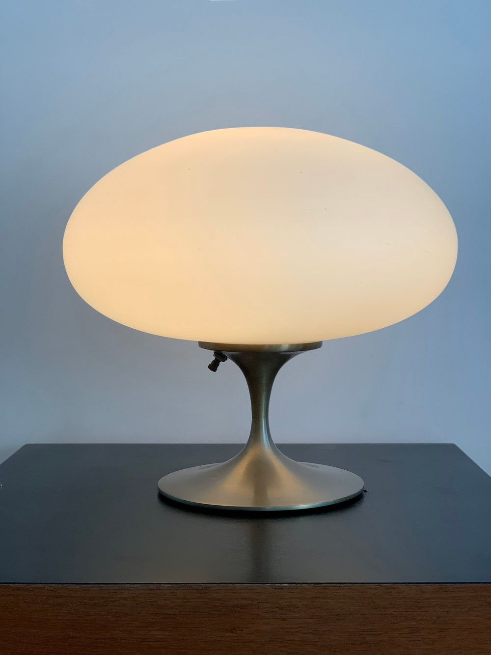 Mid Century Nickel and Frosted Glass Laurel Mushroom Lamp