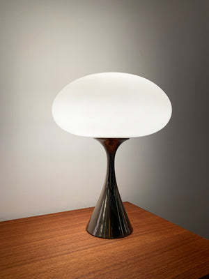 1960s Chrome Laurel Lamp With Frosted Glass mushroom Shade