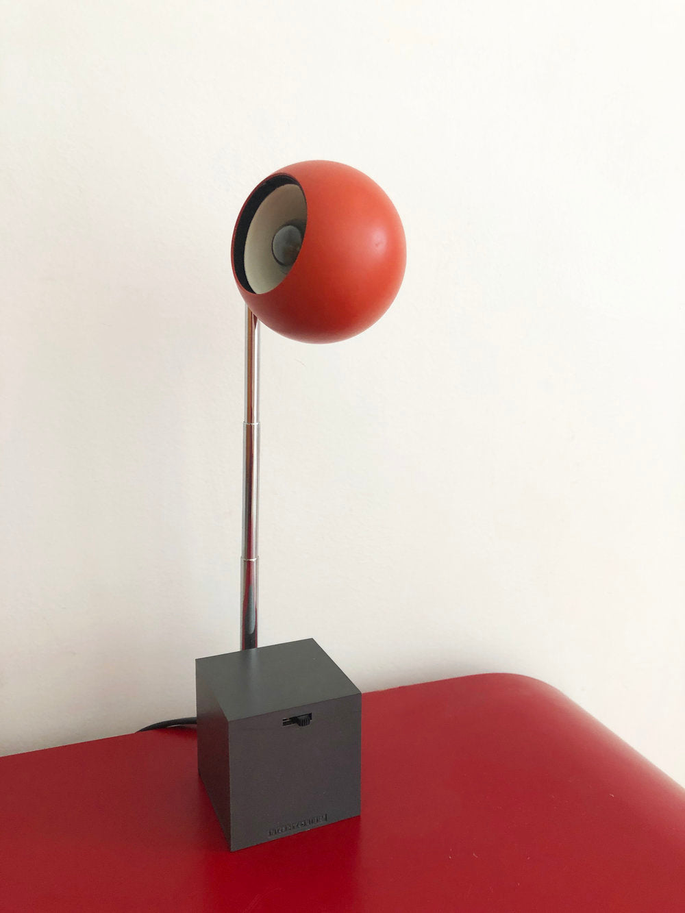 Mid Century Red Orb Lamp with Square Base by Micheal Lax