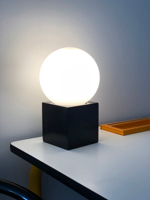 Space Age Black Lather and Frosted Glass Orb Lamp