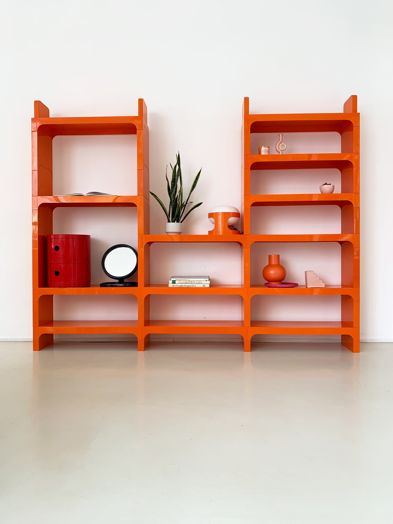 1970s Orange ABS Plastic Bookcase by Olaf Von Bohr for Kartell- 3 Bays
