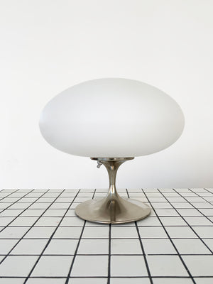1960s Nickel Laurel Lamp with Frosted Mushroom Shade