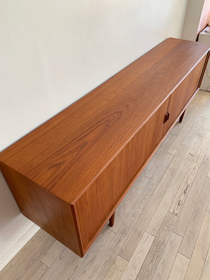 Mid Century Danish Teak Long Tambour Door Credenza by Svend Larsen for Faarup