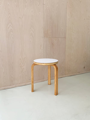 Vintage White Top Alvar Aalto Beech 3-Legged Stacking Stool