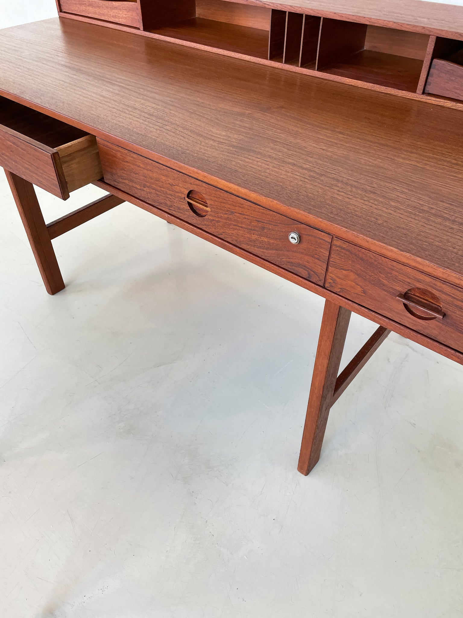 1975 Danish Mid Century Teak Flip Top Desk by Peter Lovig Nielsen