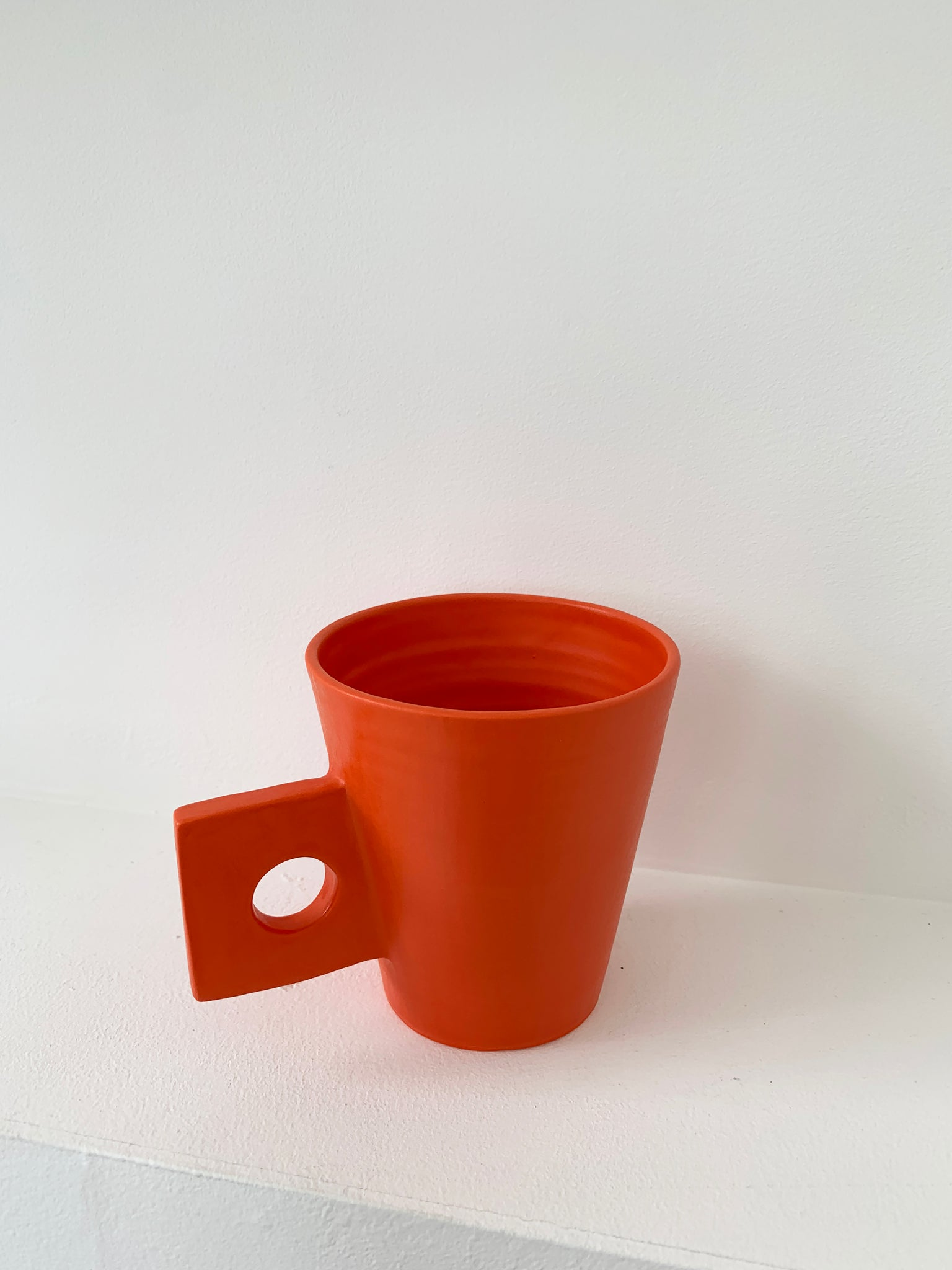 Handmade Ceramic Square Handle Mug - Orange, White, Lavender, Black