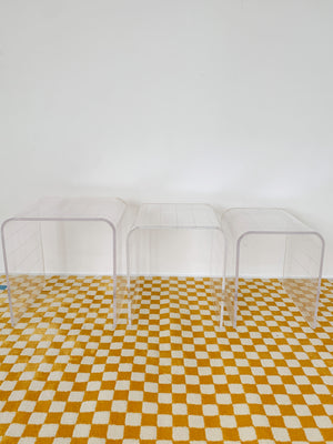 Vintage Lucite Waterfall Gridded Nesting Tables