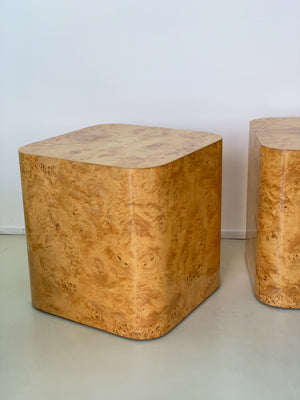 1970s Olive Burl Wood Cube Side Tables By Paul Mayen -Each