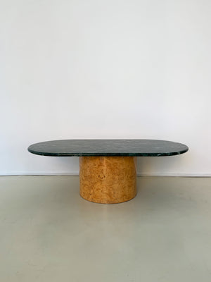 1970s Paul Mayen Green Marble and Olive Burl Coffee Table.