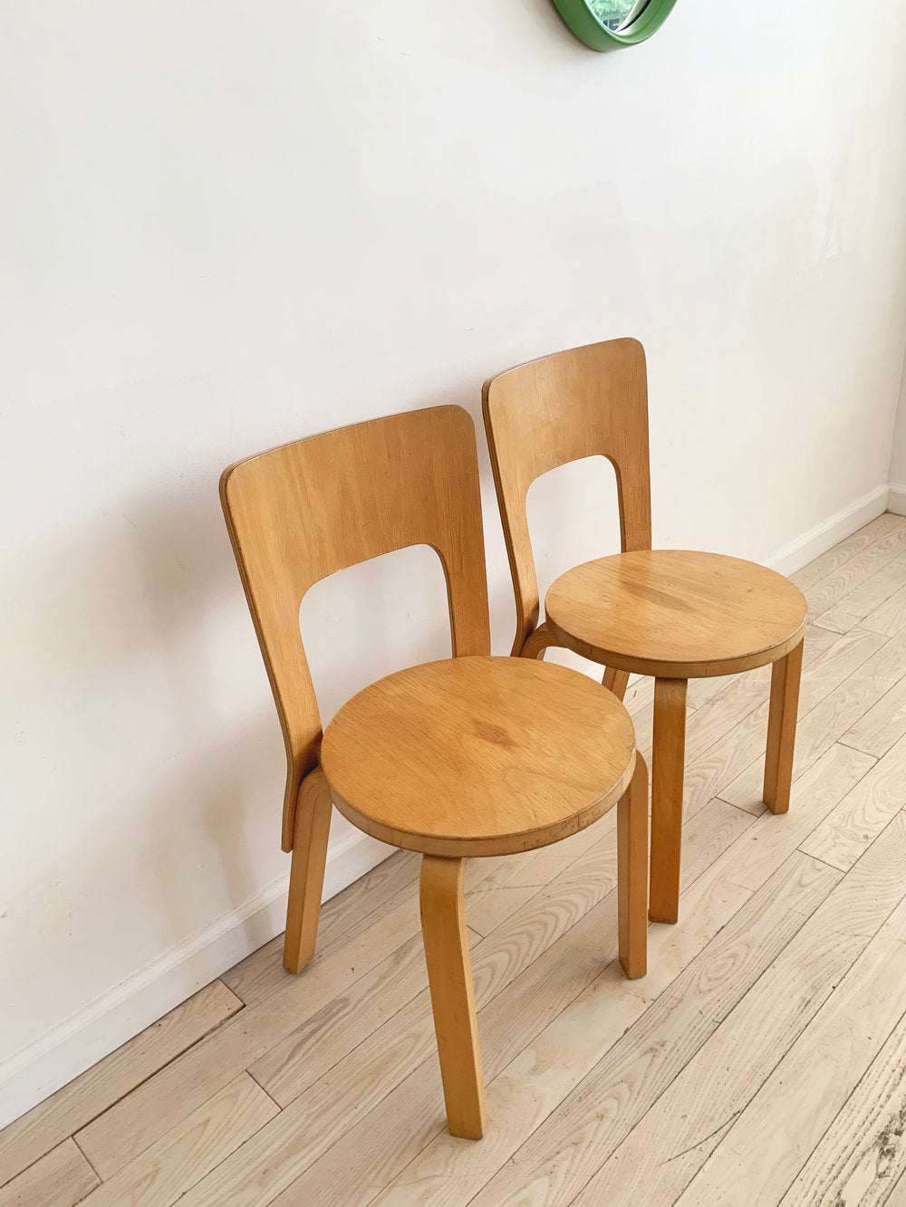 Mid Century Pair of Alvar Aalto Model 66 Chairs for Artek
