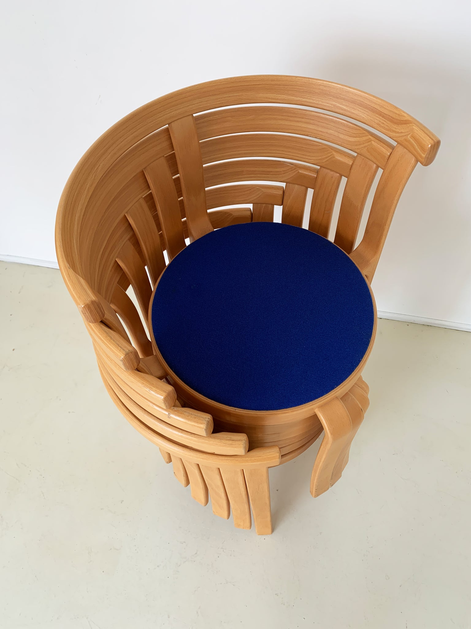 1980s Danish 8000 Series Beechwood Stacking Chairs by Magnus Olesen - Blue