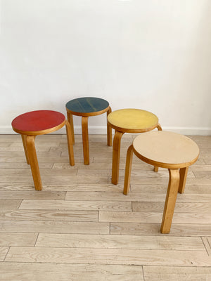Old Rare Multi-Colored Tops Alvar Aalto Model 60 Stools, Set of 4