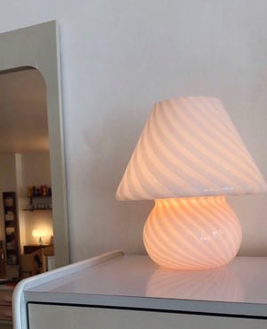 Large 1970s Pink Glass Swirl Mushroom Murano Lamp