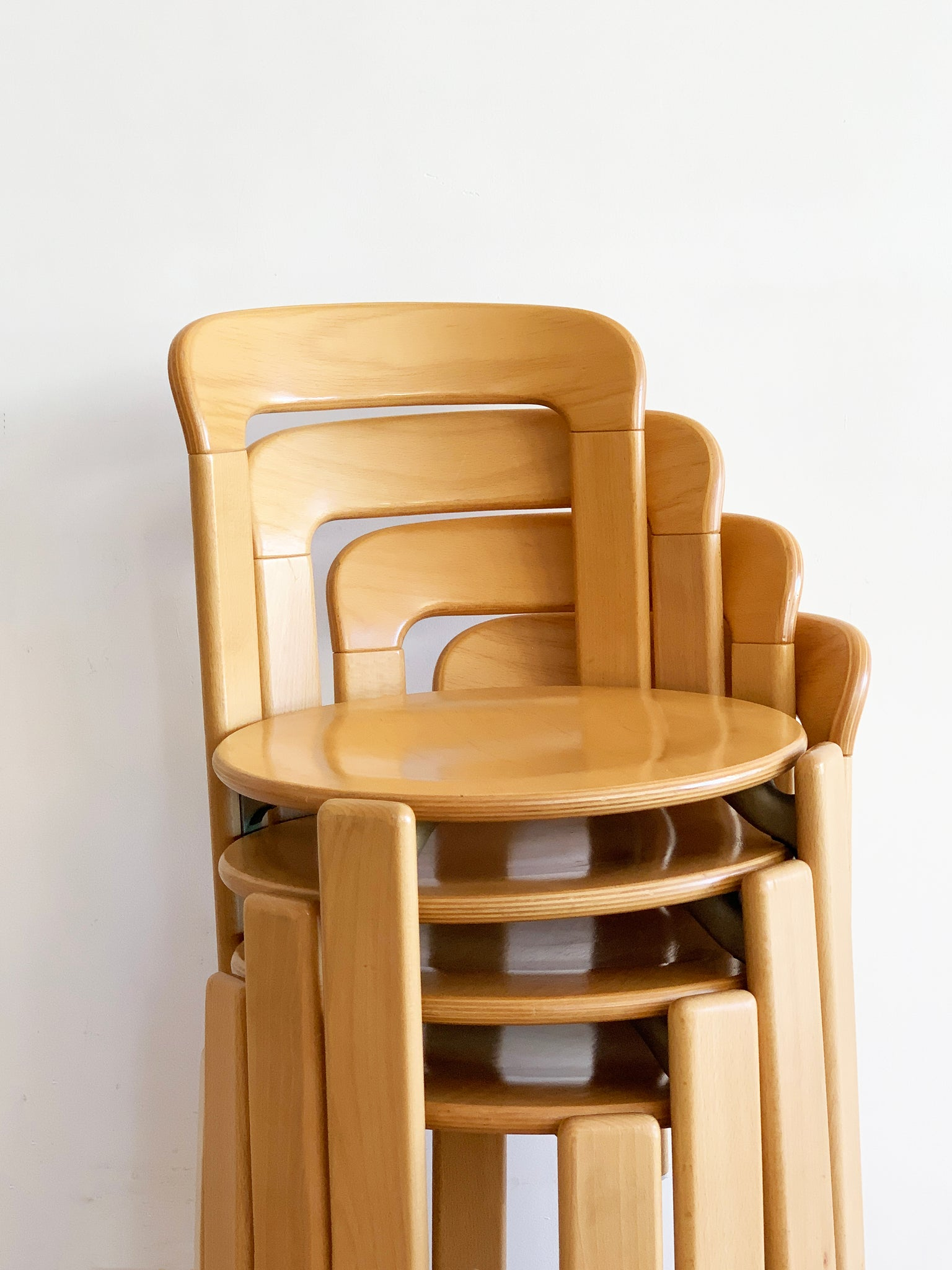 1970s Beech Rey Stacking Chairs Designed by Bruno Rey - Set of 4