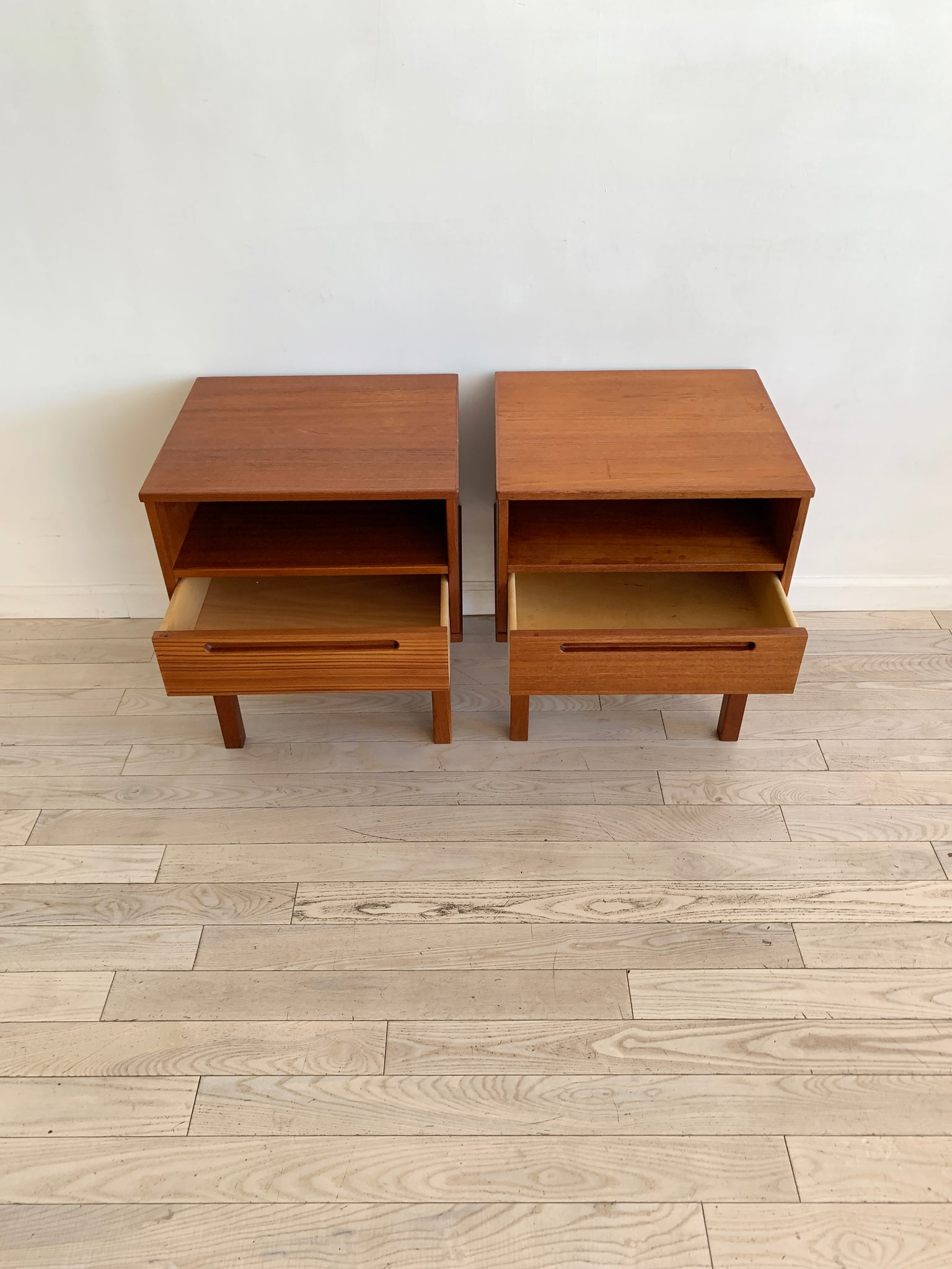 Mid Century Teak Pair Of Swedish Nightstands by Nils Jonsson