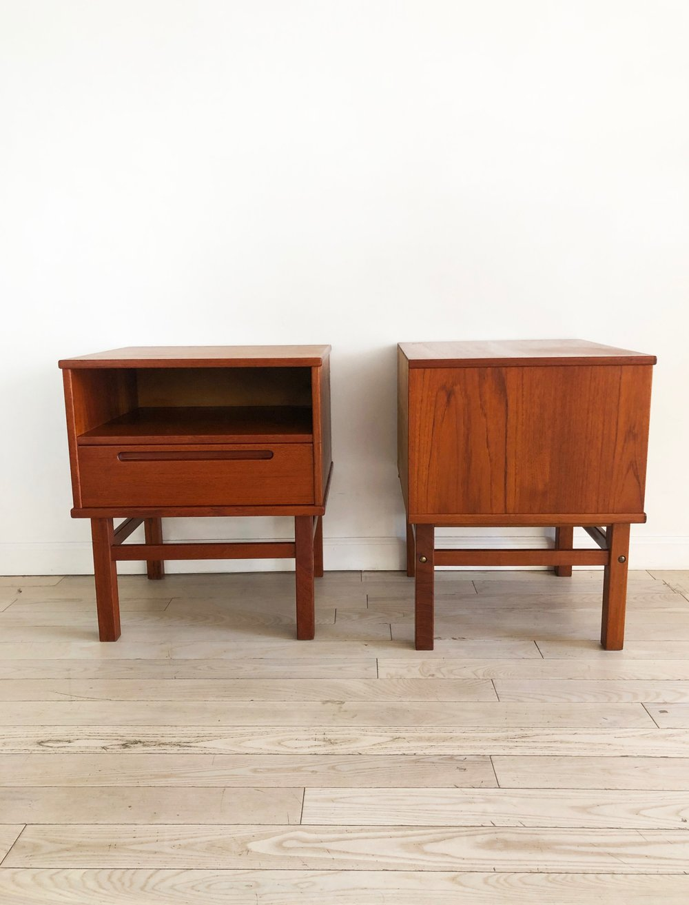 Pair of Mid Century Teak Danish Nightstands by Nils Jonsson for HJN Mobler