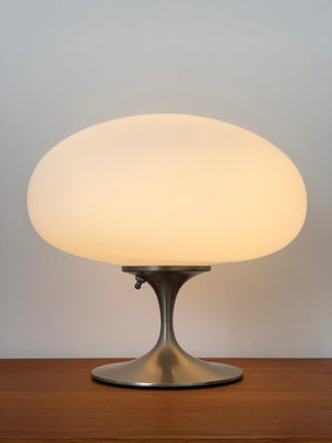 Mid Century Nickel and Frosted Glass Mushroom Laurel Lamp