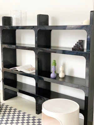 1970s Black ABS Plastic Bookcase by Olaf Von Bohr for Kartell
