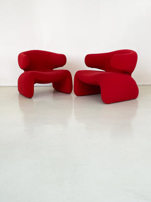 "1965 Red Olivier Mourgue ""Djinn"" Arm Chairs - each"