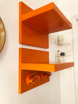 Rare Orange Marcello Siard and Olaf Von Bohr for Kartell Coat and Hat Rack Unit-Set