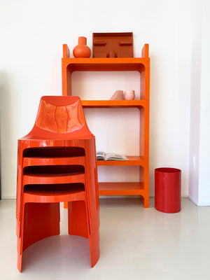 1970s Orange Olaf Von Bohr Kartell Shelving Unit