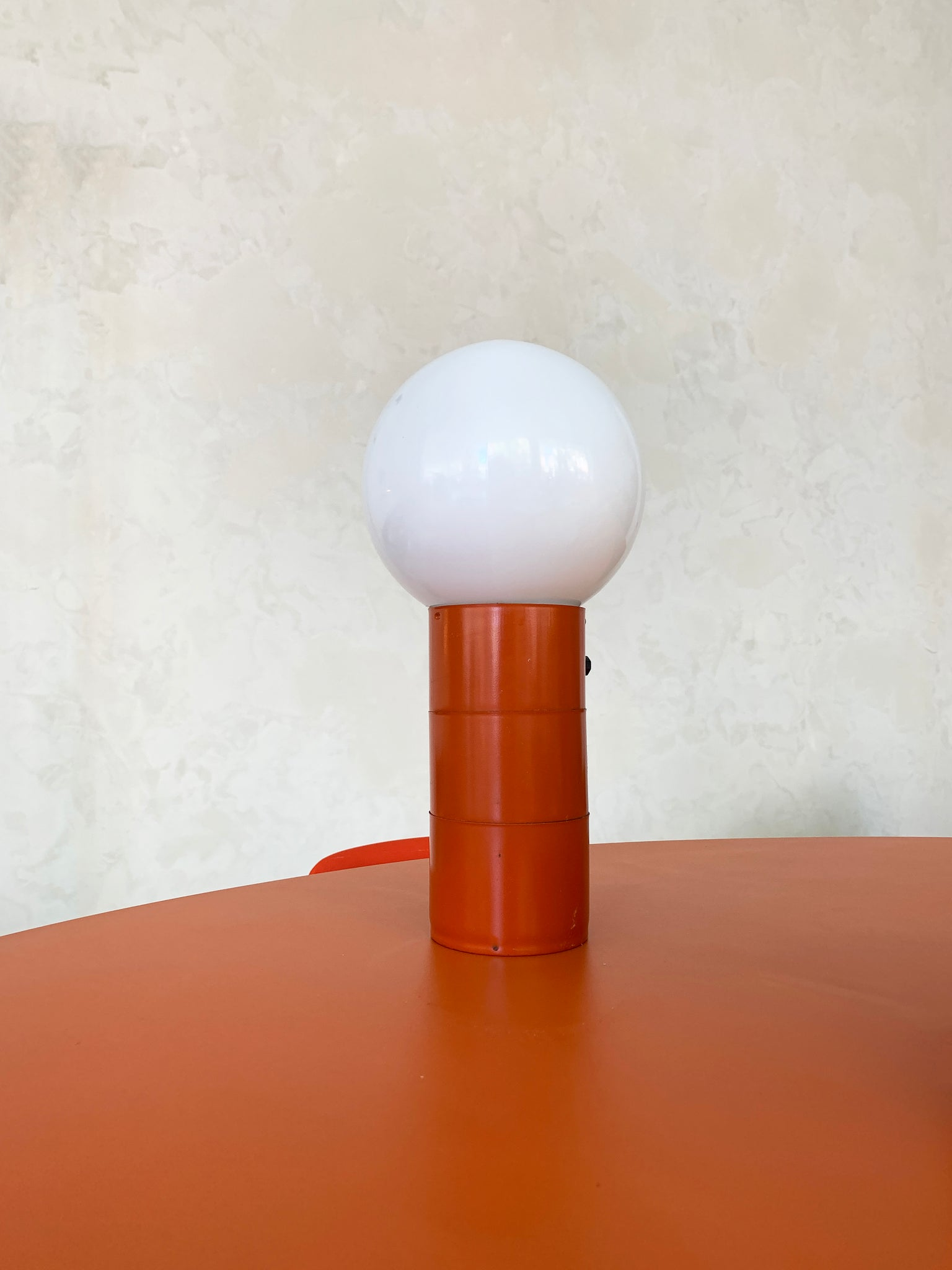 1970s Orange Orb Table Lamp