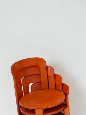 "1970s Orange Bruno Rey ""Rey"" Stacking Chairs - Set of 4"