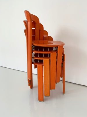 "1970s Bruno Rey ""Rey"" Chairs in Orange, Switzerland"