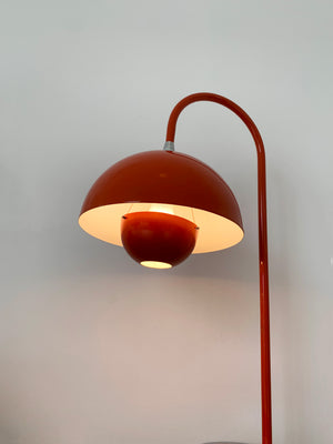 1960s Verner Panton Orange Flower Pot Table Lamp