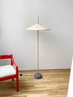 1990s Robert Sonneman for kovacs Bamboo and Palm bark Floor lamp