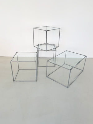 "Mid Century ""Abstracta"" Chrome and Glass Cube Side Table by Poul Cadovius"