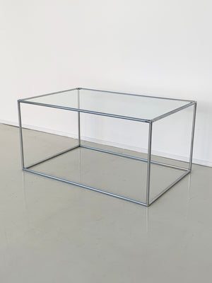 "Mid Century ""Abstracta"" Chrome and Glass Coffee Table by Poul Cadovius"