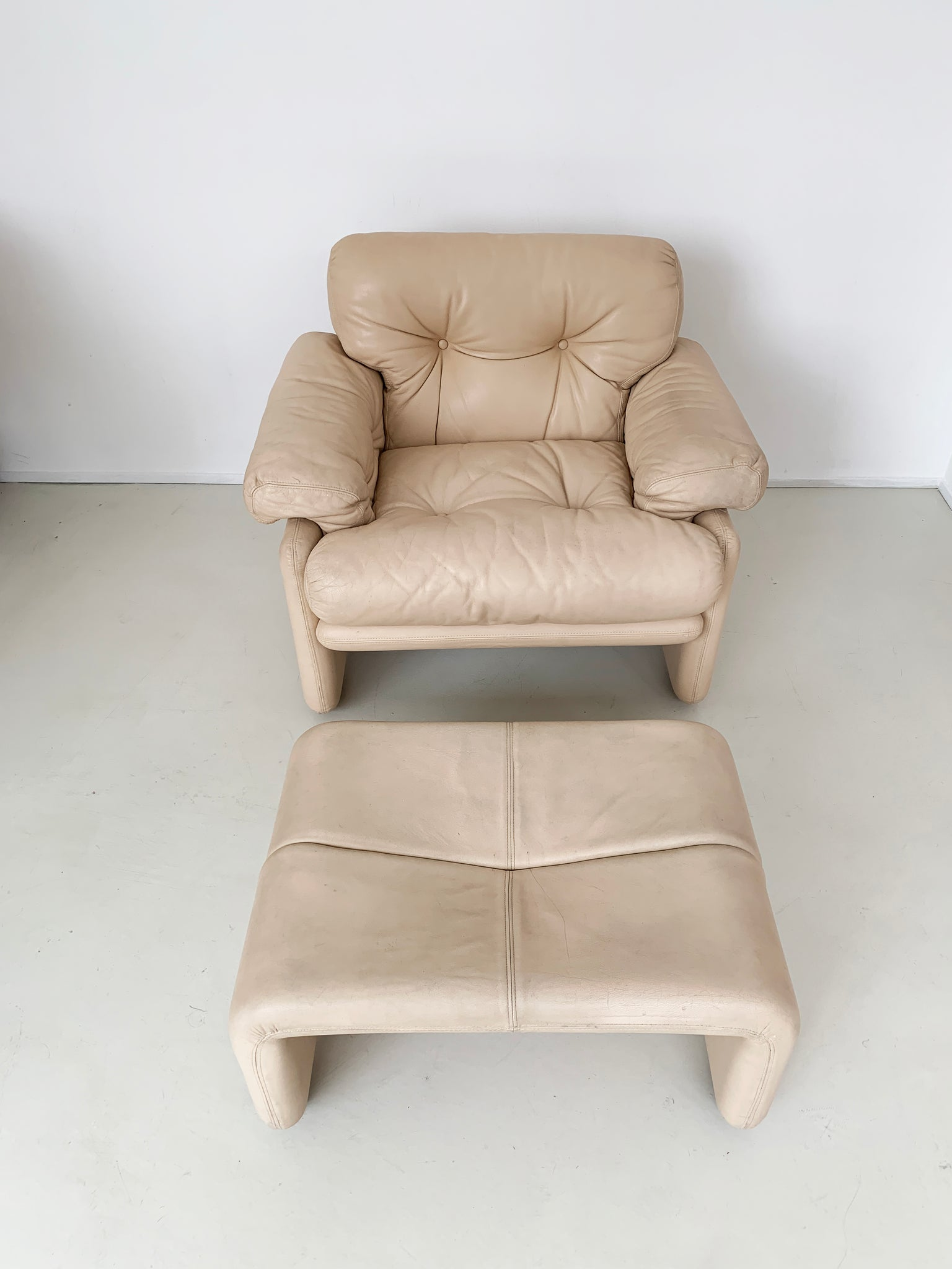 1970s Tobia Scarpa Coronado Leather Club Chair and Ottoman for B&B Italia