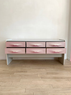 1970s Pale Pink Plastic Front Credenza
