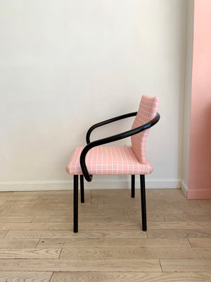Vintage Ettore Sottsass for Knoll Mandarin Chair in Pink Grid
