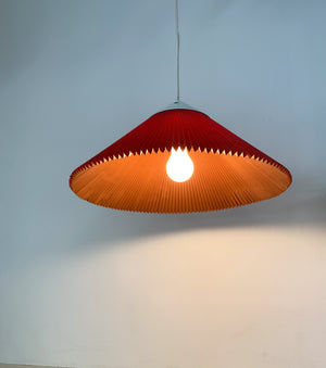 1970s Pleated Rose Colored Danish Pendant Lamp