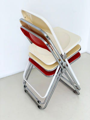 1970s Italian Plia Chairs by Giancarlo Piretti for Castelli - Cream, Butter,Red