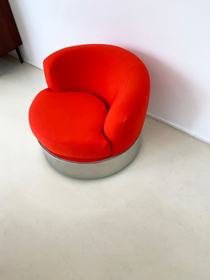 1970s Red/Orange Harvey Probber Round Chrome Chair